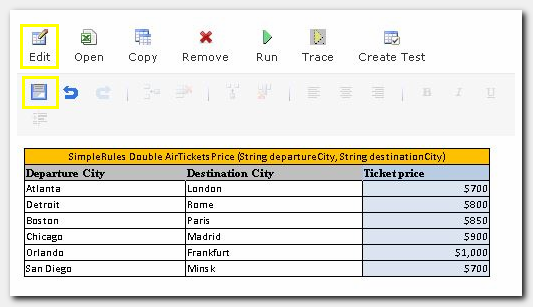 Figure 10: Air Tickets Price Decision table update
