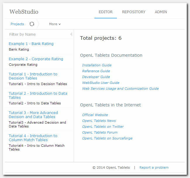 Figure 1: OpenL Tablets WebStudio Home page