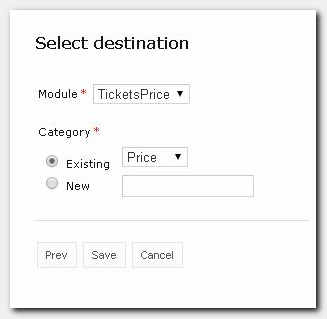 Figure 15: Select destination window